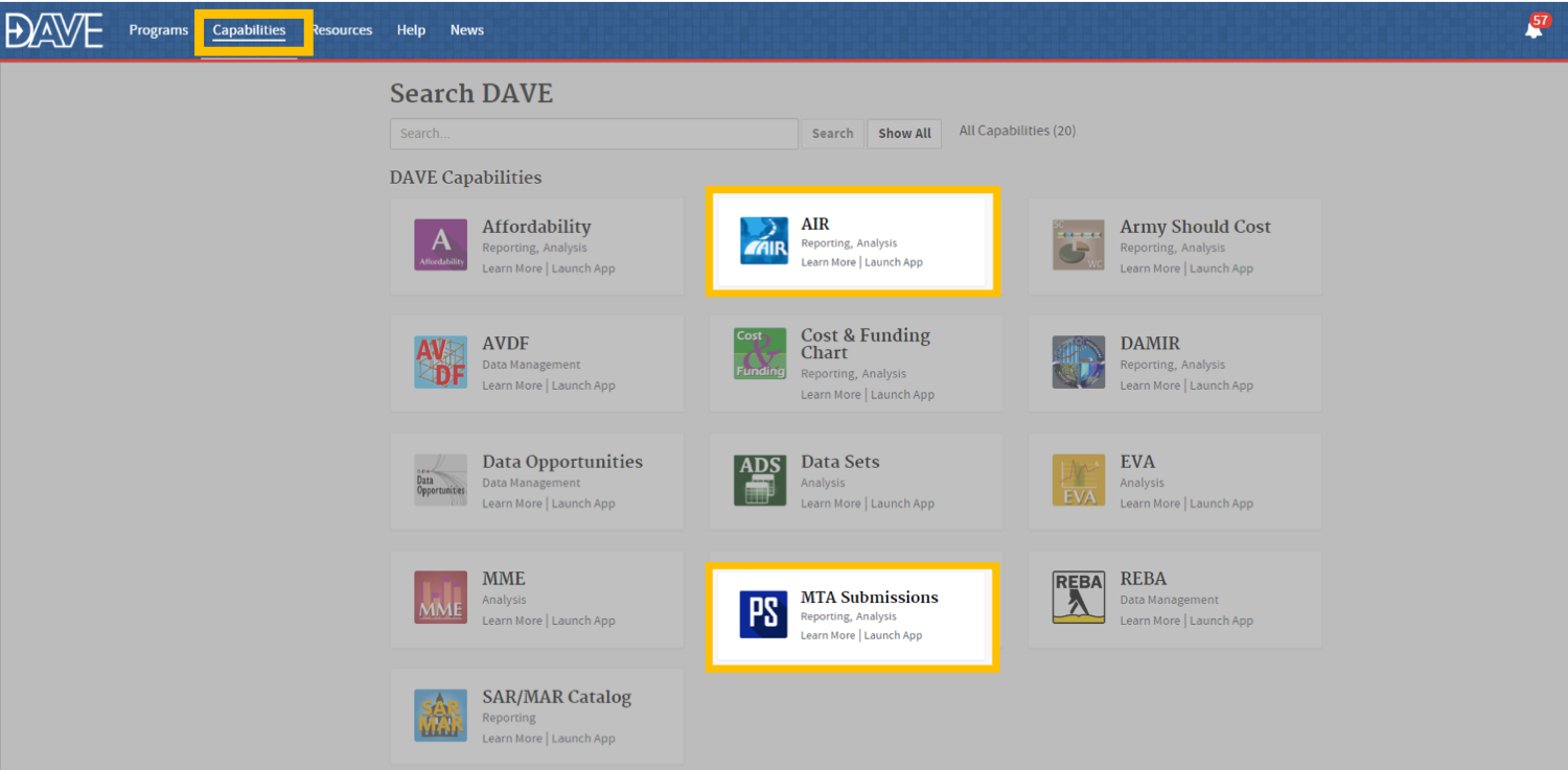 "Screenshot image of DAVE workspace with ""AIR"" and ""MTA Submissions"" highlighted."