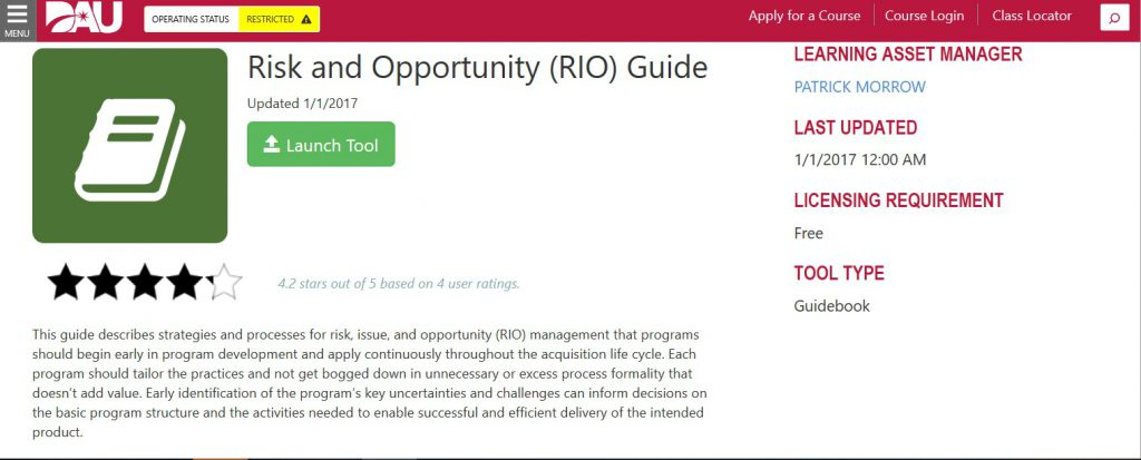 Screenshot of the Risk and Opportunity Guide launch page on the DAU website shows the green button to push to use the DAU tool.