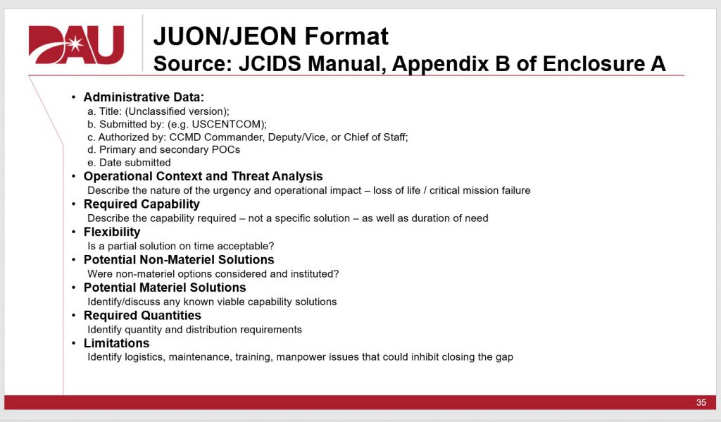 JUON/JEON Format as shown in JCIDS manual and presented in a DAU briefing on the UCA pathway